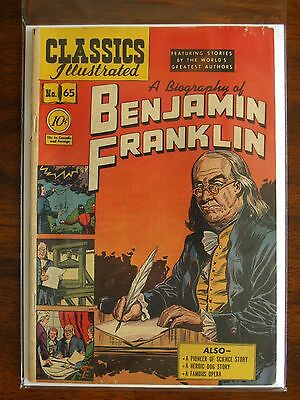 """Rare Vintage Classics Illustrated Issue #65 """"a Biography Of Benjamin Franklin"""""""
