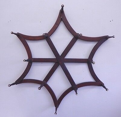 Antique Victorian Wall Mount Adjustable Hat Rack - Very Unusual