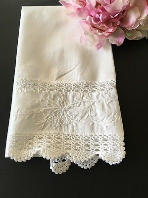 Vintage White Linen Embroidered Guest Towel With Crocheted Lace