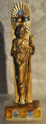 Gilt Vintage Spelter Statue -Jeweled- Ormolu-Relief - Bust - Onyx  Base-Glass