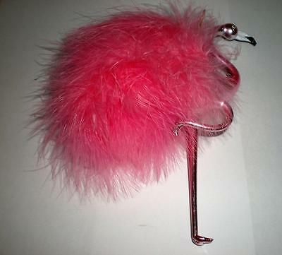 PINK FLAMINGO CHRISTMAS ORNAMENT LOTS of FEATHERS, JEWELS, LOTS of FEATHERS