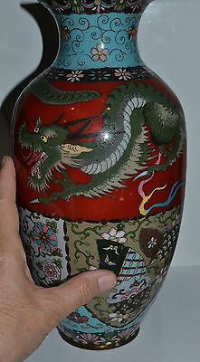 Large Antique Japanese Red Ground Cloisonne Vase Dragon 11-3/4 Inches - As Is