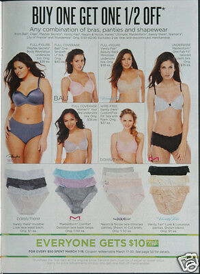 LINGERIE KOHLS ad pages circa 2014 Maidenform Playtex Vanity Fair Warners