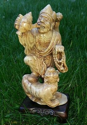 Estate Find Antique 1800's Chinese Carved Soapstone Immortal Figure With Tiger