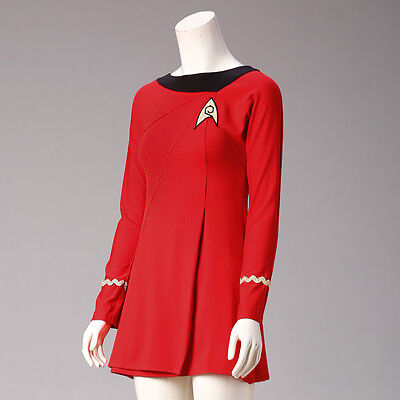 6a139594c571 Classic Star Trek Female Duty TOS Red Uniform Dress Cosplay Costume Adult  New