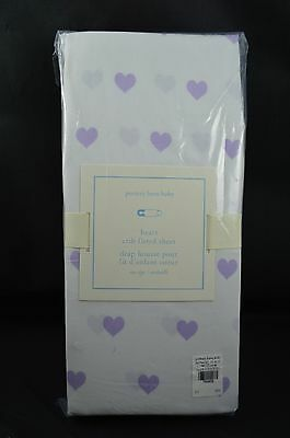 Pottery Barn Kids Baby Crib Fitted Sheet Hears Lavender