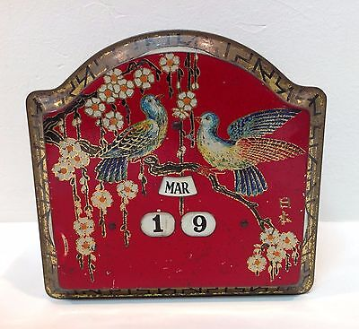 RARE Vintage Biscuit Decorative Tin - Working Calendar, Asian Design England