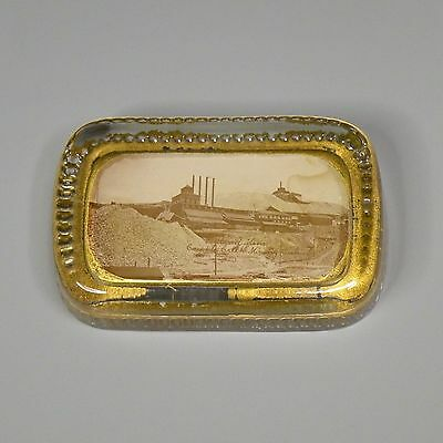Glass paperweight - Portland Mine, Cripple Creek, Colorado - gold mining
