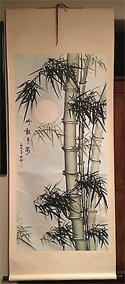 Preowned   Chinese Bamboo Watercolor Painting Scroll