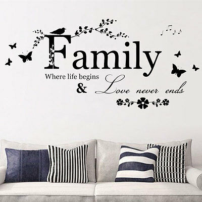 LARGE Family Wall Sticker Vinyl Art Home Decals Room Decor Mural DIY