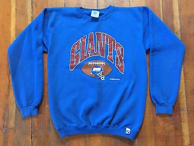 Vintage NY GIANTS 90's Crew Sweatshirt Womens Youth LOGO 7 Spellout  L (14-16)