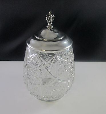 Antique Biscuit Cookie Jar Barrel Pressed Glass Silverplate Lid 1800s