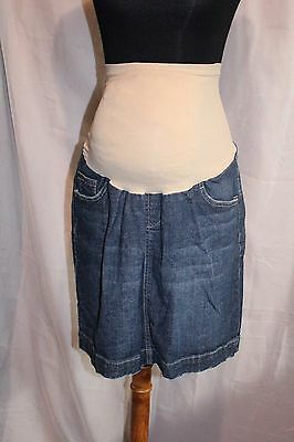Indigo Blue Maternity Blue Jean Skirt Large, Over Belly Bump, EUC
