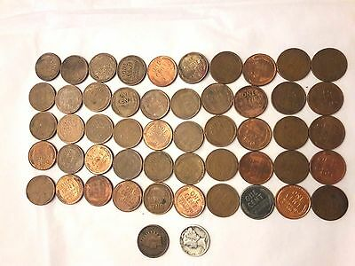 1 Roll of Wheat Pennies / Mercury Dime at one end and Indian Penny at the Other