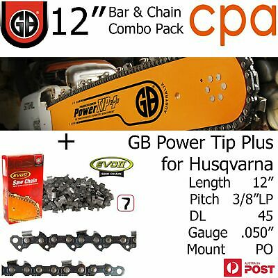 "12"" GB Chainsaw Bar & Chain Combo Power Tip+  3/8""LP DL45 .050"" for Husqvarna"