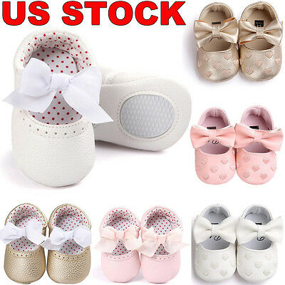 Newborn Baby Girl Soft Sole Leather Crib Shoes Anti-slip Sneakers Prewalkers US
