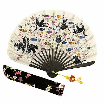 "Wise Bird Chinese Japanese Folding Hand Fan, Fashion Accessories Vintage 8"" #15R"