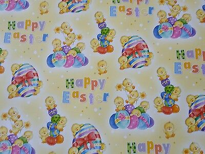 2 Sheets Of Good Quailty Thick Glossy Easter Wrapping Paper