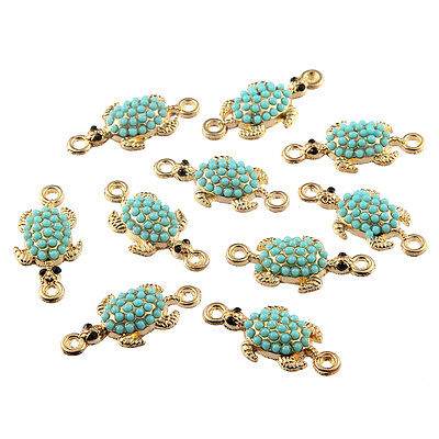 10pcs Turtles Inlaid Beads Connector Alloy Charms DIY Jewelry Making 26*12mm