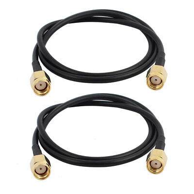 2Pcs 50cm/1.64ft RG174 Antenna Extension Cable RP-SMA Female to Female Connector