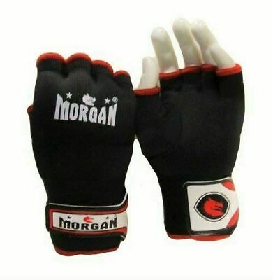 MORGAN Muay Thai Kick Boxing MMA ELASTICATED EASY HAND WRAPS Black