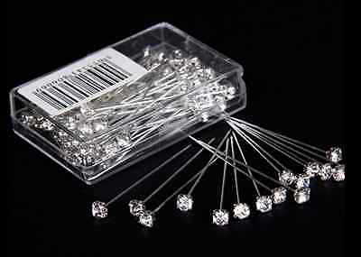 """Clear Quality Diamante Pins - 12, 36 or 72 4cm Luxury Crystal Diamonte 1.5"""" 4mm"""