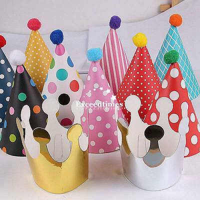 11pcs Stylish Crown Happy Birthday Party Silver Shimmer Paper Cone Hats Fun Game
