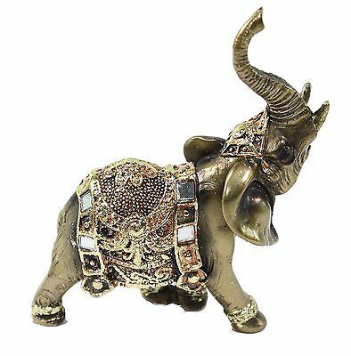 "Feng Shui 4.5"" Bronze Elephant Trunk Statue Wealth Lucky Figurine Gift Home"
