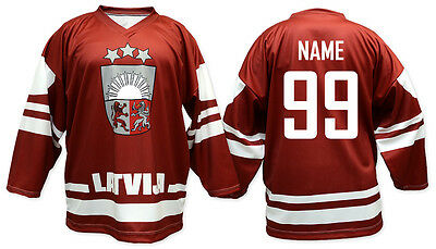 Team Latvia RED Ice Hockey Jersey Custom Name and Number