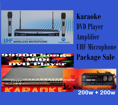 New -99900 English Tagalog MIDI Karaoke DVD / UHF Wireless Microphone/Amplifier