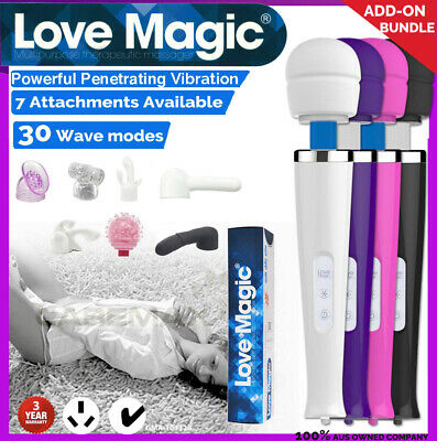 30 Modes CORDED Magic Wand Body Personal Massager Vibrator w/ Head ATTACHMENTS