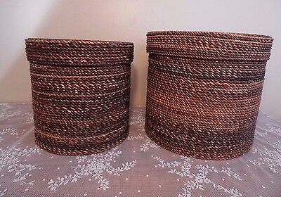 Rattan Wicker Containers with Lids Set of Two Clothing Storage Bins Boho Decor