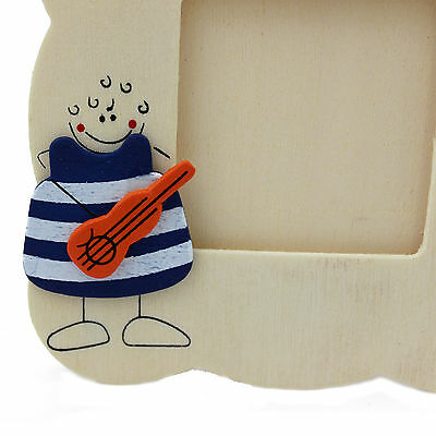 Cute Natural Wooden Picture Photo Frame Baby  Nursery Bedroom Guitar Character