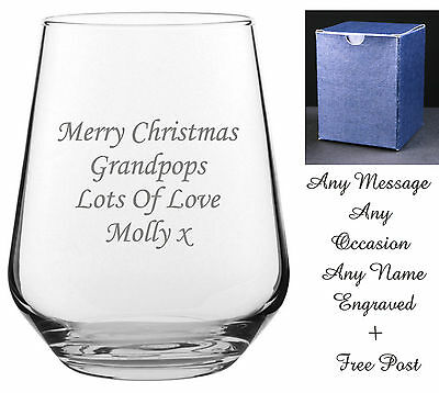 Personalised Engraved Whiskey Brandy Tumbler Glass wedding  dad grandad gift