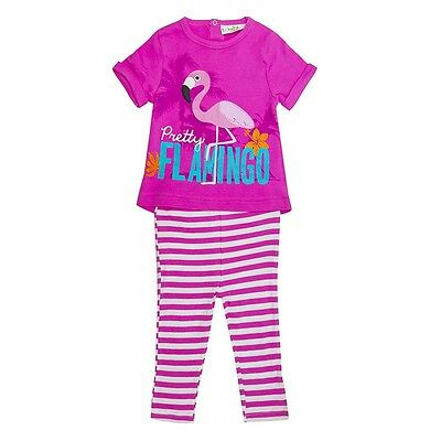 Lily & Jack Girls 2 Piece Pretty Flamingo Outfit T-Shirt Leggings 6 - 24 Months
