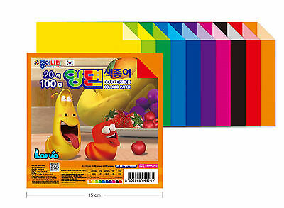 [KOREA MALL] Larva Double Sided Color Origami Craft Paper 100 Sheets 15cmx15cm