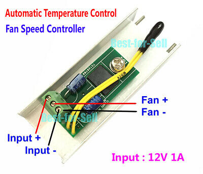 DC 12V 1A PC CPU Fan Automatic Temperature Control Thermostat Speed Controller