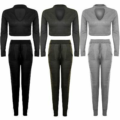 Womens Long Sleeve Choker V Neck Crop Top Joggers Lounge Wear Tracksuit Set