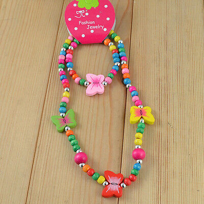 1 Set Girl's Newest Butterfly Wood Beads Necklace Bracelet Children Jewelry Gift