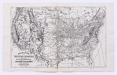 1894 United States Steamship Railroad Map RARE ALL ROUTES Double Page ORIGINAL