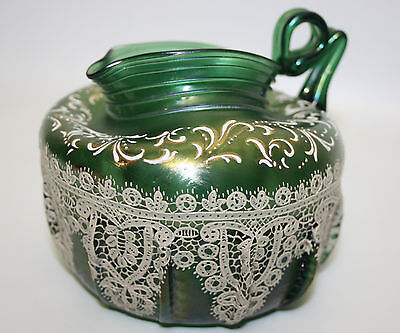Rare S. Salviati Enameled Lace On Iridescent Venetian Art Glass Pitcher  As Is