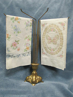 Vintage Guest Towel Holder With Paper Flower and Paper Butterfly Towels