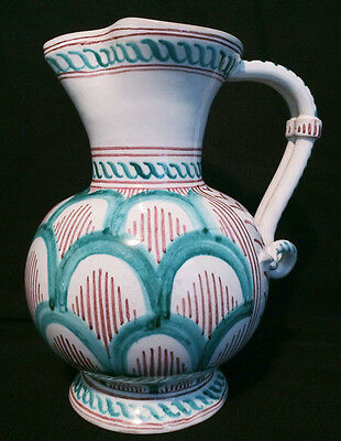 "Gorgeous 8.5"" Italian Majolica Pitcher Pottery Ornate Handle Hand Painted Italy"