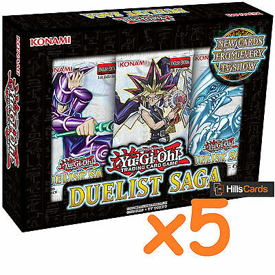 5x Yu-Gi-Oh Duelist Saga Mini Booster Boxes: 3 Packs of 5 Cards in Each - Sealed