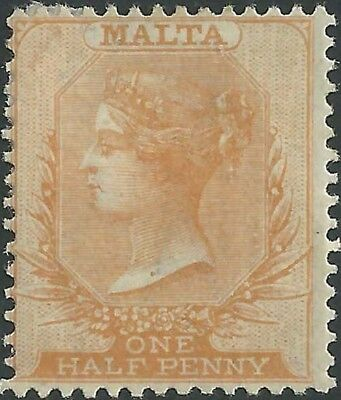 MALTA QV 1882-84 Issue 1/2d orange-yellow Scott 7a  SG18  Mint Hinged cv £40