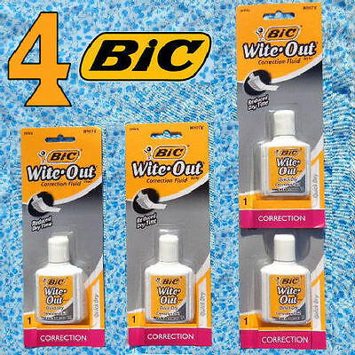 4 BIC Wite-Out Correction Fluid White .7 Fl. Oz. Each - New & SEALED