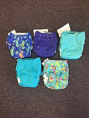 5 Blueberry Simplex One Size Cloth Diapers With Inserts Mermaids Seahorse Teal