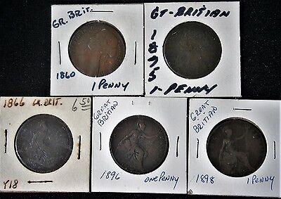 Great Britain Penny 1860, 1866, 1875, 1896, 1898 Lot (5)