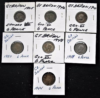 Great Britain 6 Pence 1905-1950 Lot (7) Coins