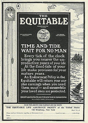 1905 Equitable Life Assurance Time and Tide Vintage Original Print Ad